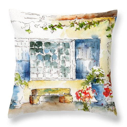 Mas St Antoine Throw Pillow featuring the painting Mas St Antoine by Pat Katz