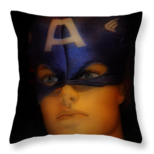 California Throw Pillow featuring the photograph Masked Hero by Norma Warden