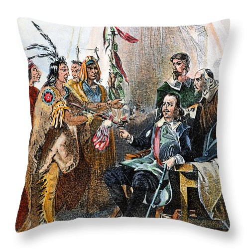 1620 Throw Pillow featuring the photograph Massasoit & Carver, 1620 by Granger