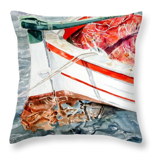 Boats Throw Pillow featuring the painting Matricola 2ca 970 by Giovanni Marco Sassu