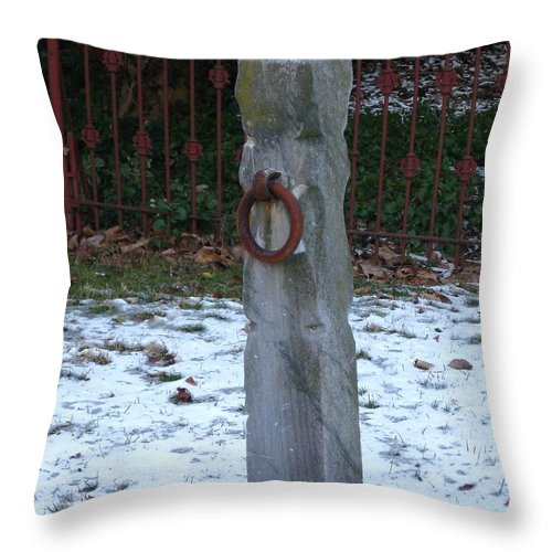 Hitching Post Throw Pillow featuring the photograph Mauricetown Hitching Post by Nancy Patterson