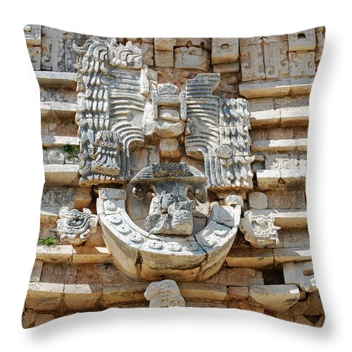 Uxmal Throw Pillow featuring the photograph Mayan Architectural Details At Uxmal Mexico by Shawn O'Brien