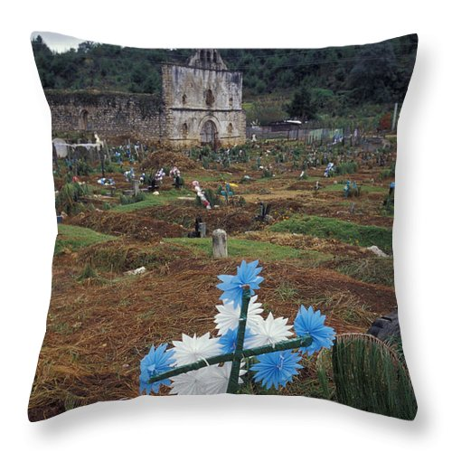 Mexico Throw Pillow featuring the photograph Mayan Cemetery Chiapas Mexico by John Mitchell