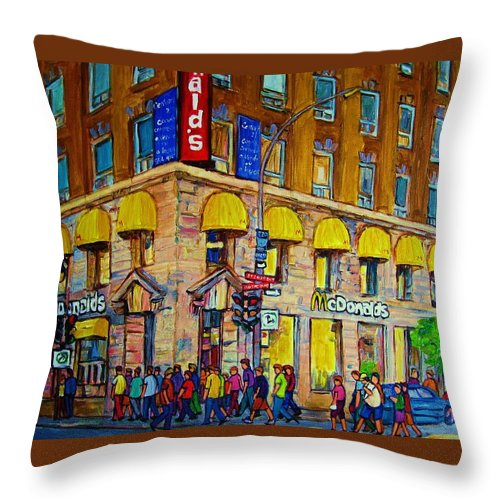 Mcdonald Restaurant Montreal Throw Pillow featuring the painting Mcdonald by Carole Spandau