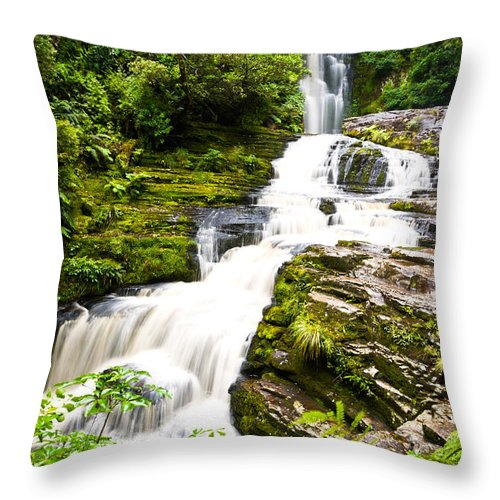 Abstract Throw Pillow featuring the photograph Mclean Falls In The Catlins by U Schade