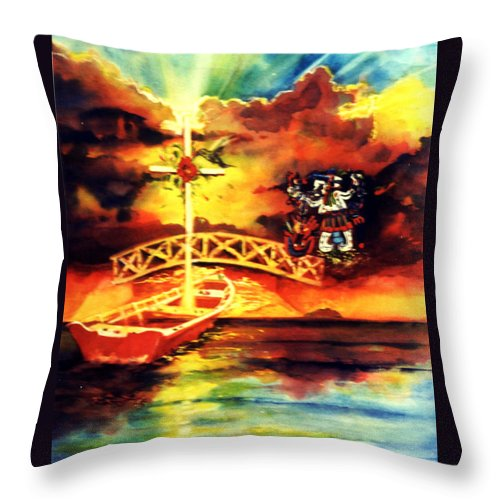 Mexican Medicine Student Painting Throw Pillow featuring the painting Medicine Student At Mexico by Estela Robles