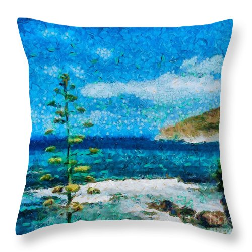 Seascape Throw Pillow featuring the painting Mediterranean View by Dragica Micki Fortuna