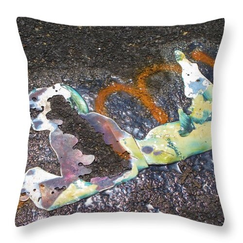 Graffitti Throw Pillow featuring the photograph Melted Pin Up Girl by Michele Nelson