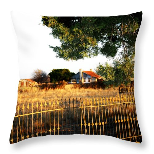 Fence Throw Pillow featuring the photograph Memories Fade In Time by Nina Fosdick