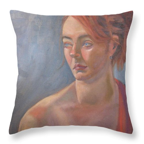 Figure Art Throw Pillow featuring the painting Memories In Red by Lilibeth Andre