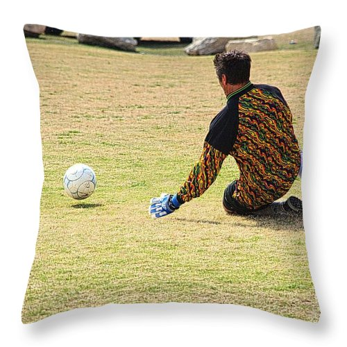 Soccer Throw Pillow featuring the photograph Men Soccer Action 1 by Roy Williams