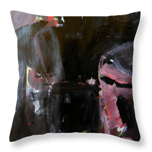 Abstract Throw Pillow featuring the painting Menacing - He Waits For Dark For Her by Judith Redman