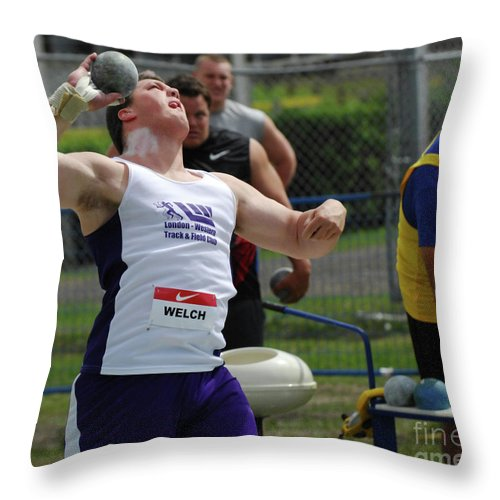 Canadian Track And Field National Championships 2011 Throw Pillow featuring the photograph Mens Shotput by Bob Christopher