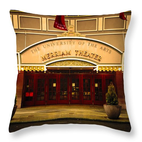 Merriam Theater Throw Pillow featuring the photograph Merriam Theater by Bill Cannon