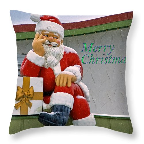 Bronner's Throw Pillow featuring the photograph Merry Christmas Santa by LeeAnn McLaneGoetz McLaneGoetzStudioLLCcom