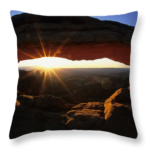 Mesa Arch Throw Pillow featuring the photograph Mesa Arch Sunrise by Bob Christopher