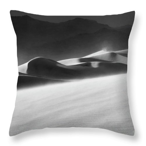 Death Valley Throw Pillow featuring the photograph Death Valley California Mesquite Dunes 2 by Bob Christopher