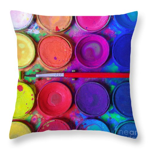 Art Throw Pillow featuring the photograph Messy Paints by Carlos Caetano