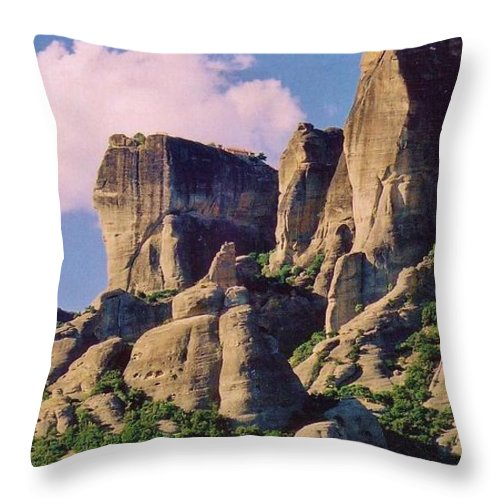 Meteora Throw Pillow featuring the photograph Meteora Greece by John Malone