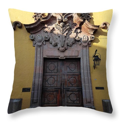 North America Throw Pillow featuring the photograph Mexican Door 28 by Xueling Zou