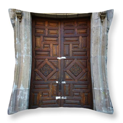 North America Throw Pillow featuring the photograph Mexican Door 32 by Xueling Zou