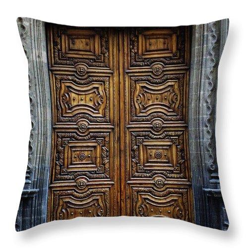 Mesoamerica Throw Pillow featuring the photograph Mexican Door 4 by Xueling Zou