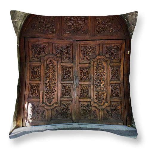 North America Throw Pillow featuring the photograph Mexican Door 47 by Xueling Zou