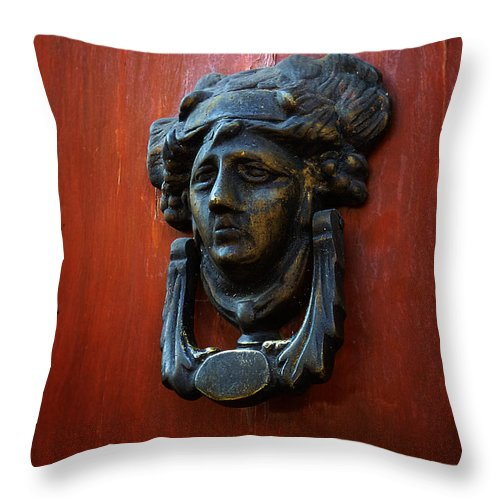 North America Throw Pillow featuring the photograph Mexican Door Decor 2 by Xueling Zou