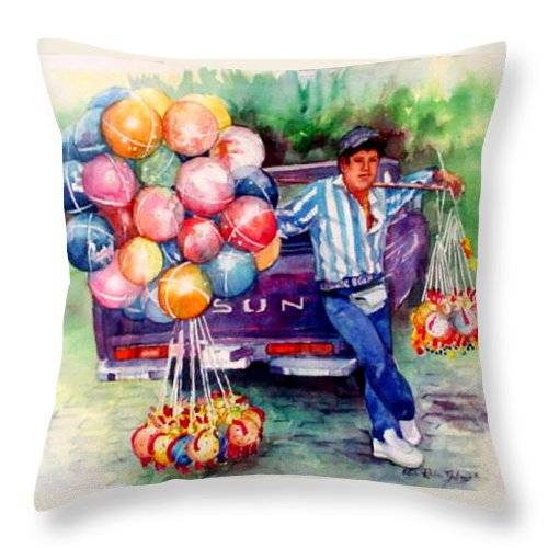 Mexico Paintings Throw Pillow featuring the painting Mexico-globero by Estela Robles