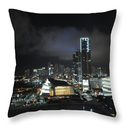 Miami Throw Pillow featuring the photograph Miami At Night by Tiffney Heaning