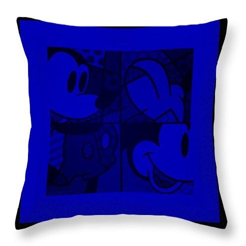 Mickey Mouse Throw Pillow featuring the photograph Mickey In Blue by Rob Hans