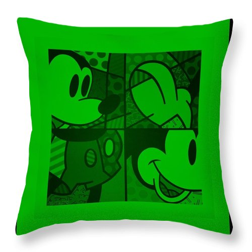 Mickey Mouse Throw Pillow featuring the photograph Mickey In Green by Rob Hans