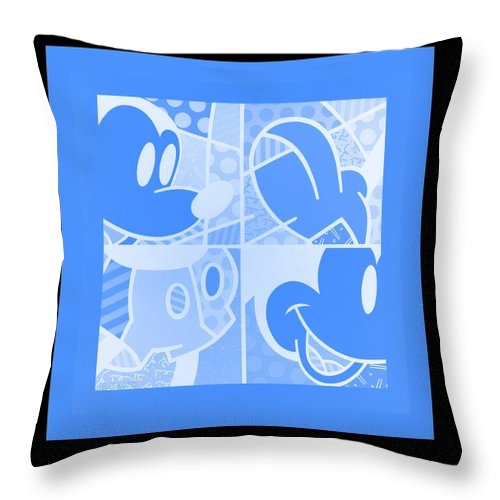 Mickey Mouse Throw Pillow featuring the photograph Mickey In Negative Light Blue by Rob Hans