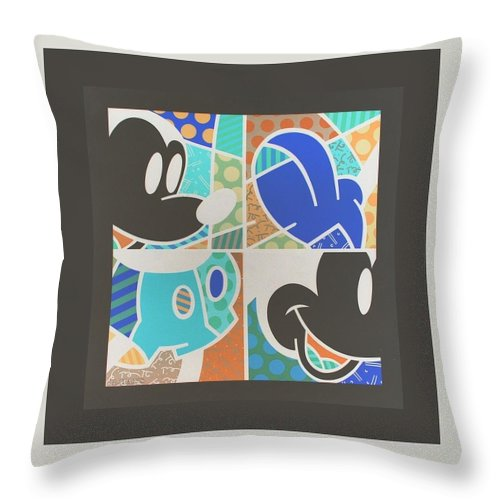Mickey Mouse Throw Pillow featuring the photograph Mickey In Negative by Rob Hans