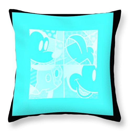 Mickey Mouse Throw Pillow featuring the photograph Mickey In Negative Turquois by Rob Hans