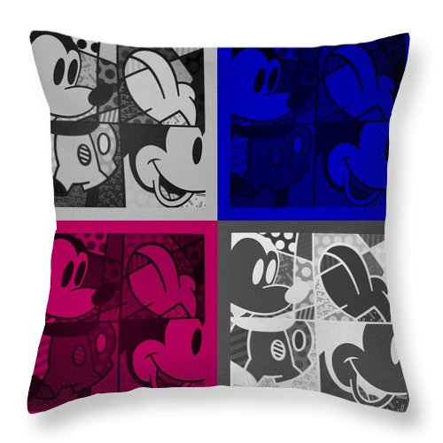Mickey Mouse Throw Pillow featuring the photograph Mickey In Quad Colors by Rob Hans