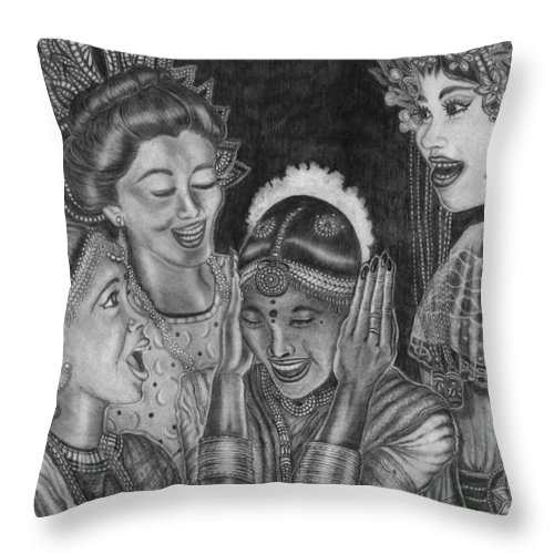 Middle Eastern Women Throw Pillow featuring the drawing Middle Eastern Women by Kathy-Lou