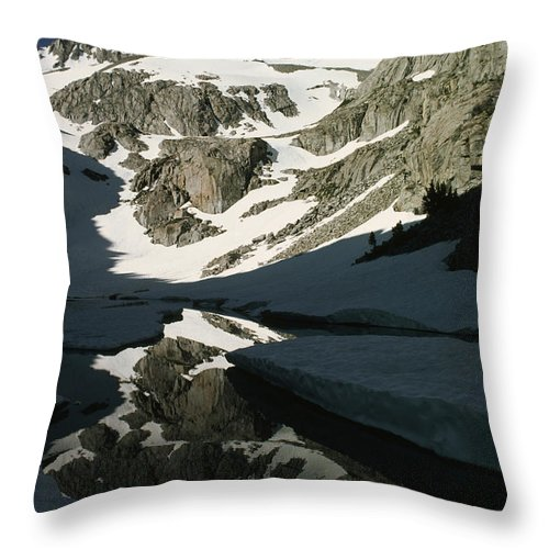 Color Image Throw Pillow featuring the photograph Middle Palisade Peak Reflects In Finger by Gordon Wiltsie