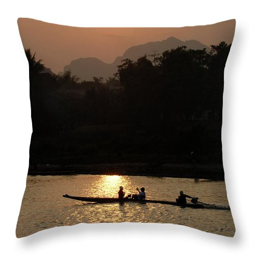 Laos Throw Pillow featuring the photograph Mighty Mekong by Bob Christopher