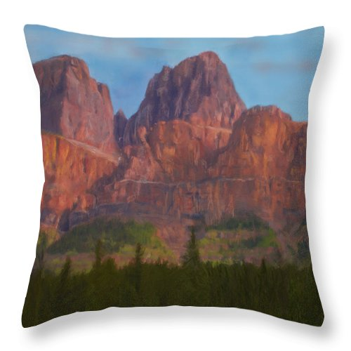Nature Throw Pillow featuring the digital art Mighty Mountains by Jo-Anne Gazo-McKim