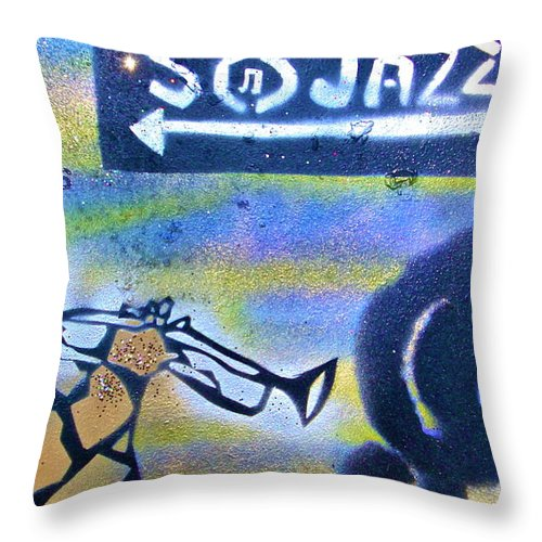 Jazz Throw Pillow featuring the painting Miles Of Jazz by Tony B Conscious