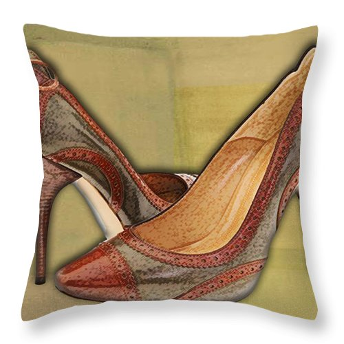 Shoes Heels Pumps Fashion Designer Feet Foot Shoe Throw Pillow featuring the painting Military Camouflage Stilettos With Tassels by Elaine Plesser