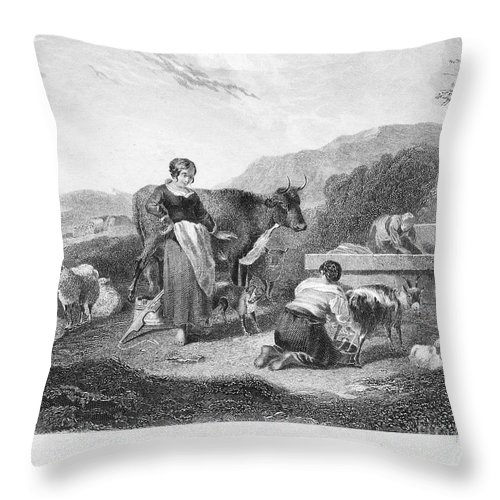 Berchem Throw Pillow featuring the photograph Milking, 17th Century by Granger