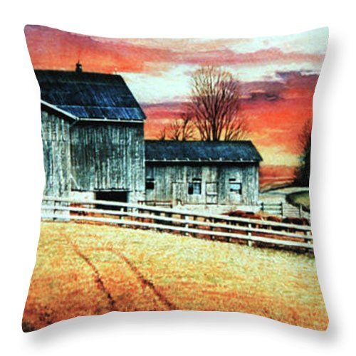 Farm Paintings Throw Pillow featuring the painting Mill Creek Farm by Hanne Lore Koehler