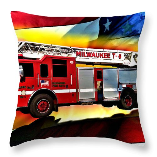 Fire Truck Throw Pillow featuring the digital art Milwaukee Truck 6 by Tommy Anderson