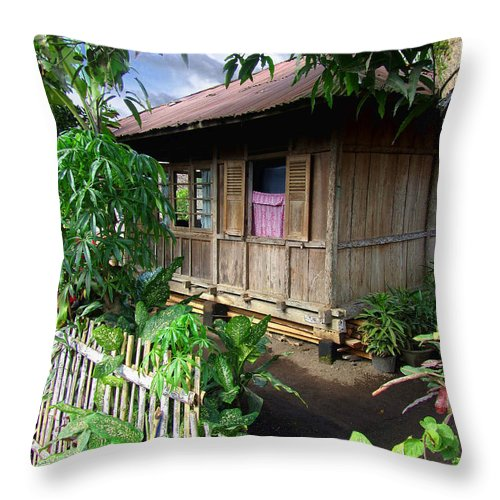 Architecture Throw Pillow featuring the photograph Minahasa Traditional Home 1 by Mark Sellers
