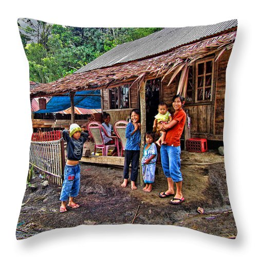 Architecture Throw Pillow featuring the photograph Minahasa Traditional Home 3 by Mark Sellers