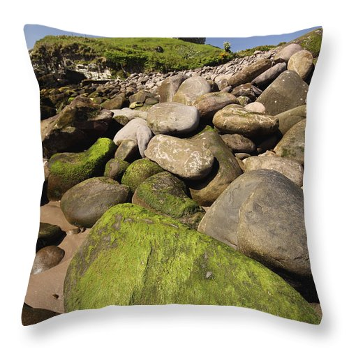 Blue Sky Throw Pillow featuring the photograph Minard Castle And Rocky Beach Minard by Trish Punch