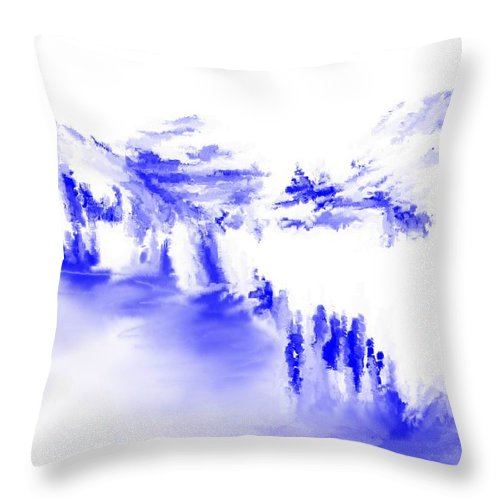 Fine Art Throw Pillow featuring the digital art Minimal Landscape Monochrome In Blue 111511 by David Lane