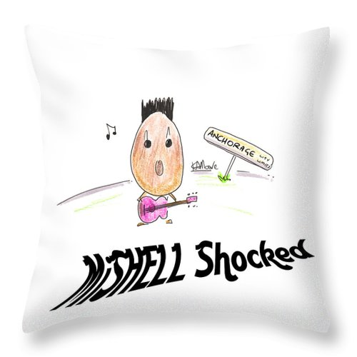 Cartoons Throw Pillow featuring the drawing Mishell Shocked by Kev Moore